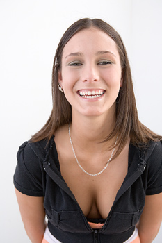 woman cleavage taunting smile I Told You So!