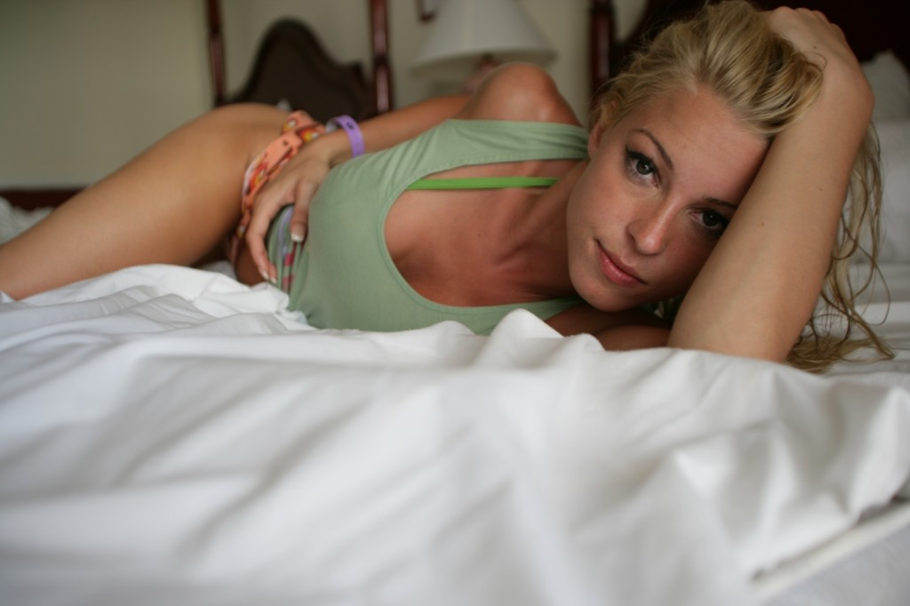 sexy blond model in bed